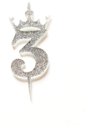 SURSAI Silver Zari With Crown Design 3 Number Cake Topper for Decoration No.3 Cake Topper Pack of 1