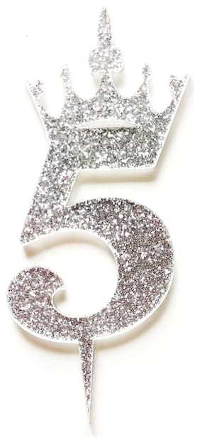 SURSAI Silver Zari With Crown Design 5 Number Cake Topper for Decoration No.5 Cake Topper Pack of 1