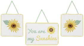 Sweet Jojo 3pc Yellow Green White Sunflower Boho Floral Wall Hanging Room Decor
