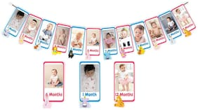 SYGA 1 to 12 Month Music theme Animal Banner With Front Side Photo space & Sweet Memory Writing Space Back side of banner