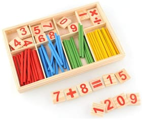 SYGA Baby Learning Wooen Multicolor Mathematical Stick Toy