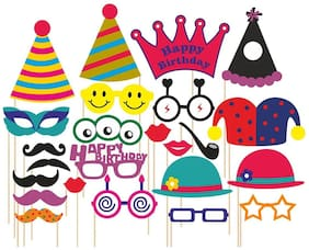 SYGA Set Of 24 Birthday Theme Party Photo Booth Props