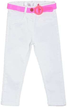 Tales and Stories Girl's White Lycra Solid Slim-Fit Jeans