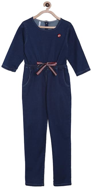 Tales & Stories Cotton Solid Bodysuit For Girl - Blue