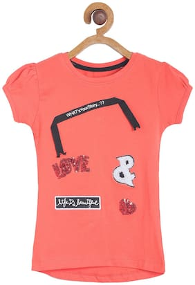 Tales & Stories Girl Cotton Embellished T shirt - Red