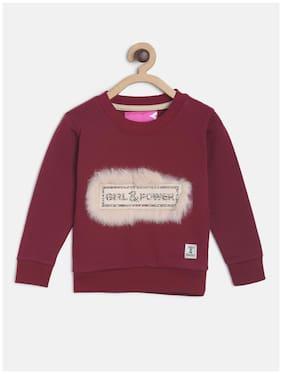 Tales & Stories Girl Cotton Printed Sweatshirt - Maroon