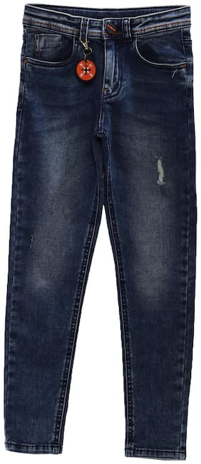 Tales & Stories Boys Navy Blue Slim Fit Mid-Rise Mildly Distressed Jeans