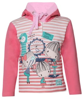 Tales & Stories Girl Cotton Striped Sweatshirt - Pink