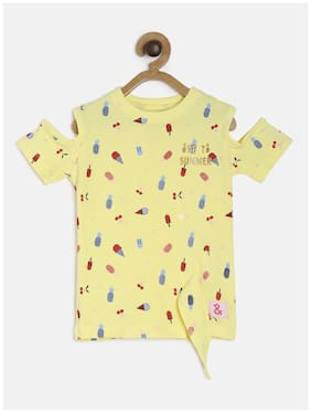 Tales & Stories Girl Cotton Printed T shirt - Yellow