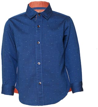 Tales & Stories Cotton Solid Shirt for Baby Boy - Blue