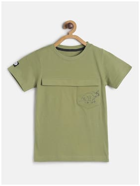 Tales & Stories Cotton Solid T shirt for Baby Boy - Green