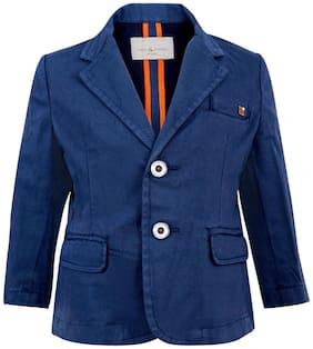 Tales & Stories Boy Cotton blend Solid Winter jacket - Blue