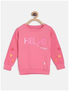 Tales & Stories Girl Cotton Printed Sweatshirt - Pink