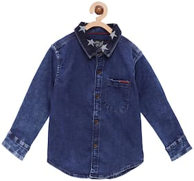Tales & Stories Boy Cotton Solid Shirt Blue