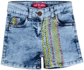 Tales & Stories Girl Cotton blend Embroidered Hot pants - Blue