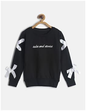 Tales & Stories Girl Cotton blend Solid Sweatshirt - Black