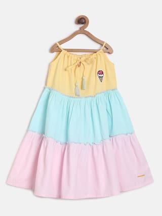 Tales & Stories Multi Cotton Sleeveless Knee Length Princess Frock ( Pack of 1 )