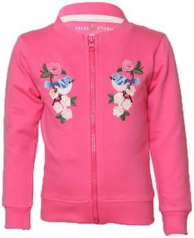 Tales & Stories Girl Cotton Printed Sweater - Pink