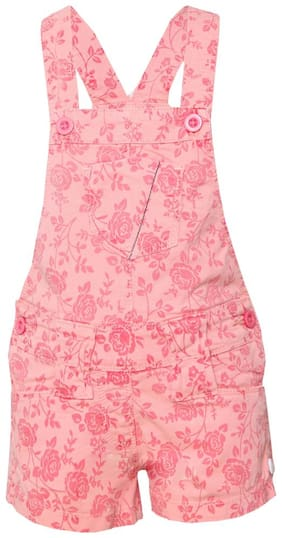 Tales & Stories Cotton Solid Dungaree For Girl - Pink