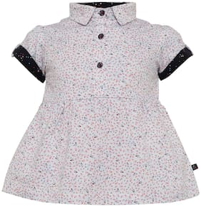 Tales & Stories Baby girl Cotton Solid Princess frock - White