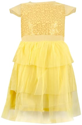 Tales & Stories Cotton blend Embellished Frock - Yellow