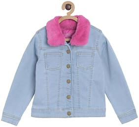 Tales & Stories Girl Cotton blend Solid Winter jacket - Blue