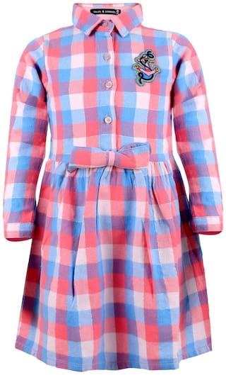 Tales & Stories Girls Pink Checkered Girls Dress (Multi)