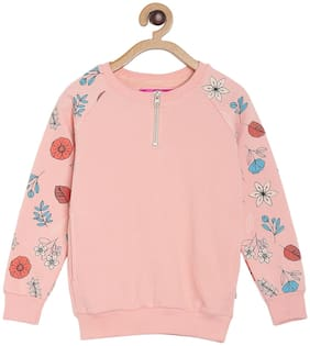 Tales & Stories Girl Cotton blend Floral Sweatshirt - Pink