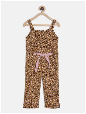 Tales & Stories Cotton Printed Dungaree For Girl - Yellow