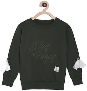 Tales & Stories Girl Cotton Printed Sweatshirt - Green