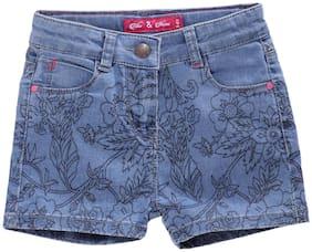 Tales & Stories Girl Cotton Floral Denim shorts - Blue