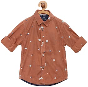 Tales & Stories Cotton Printed Shirt for Baby Boy - Brown