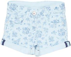 Tales & Stories Girl Cotton Floral Hot pants - Blue