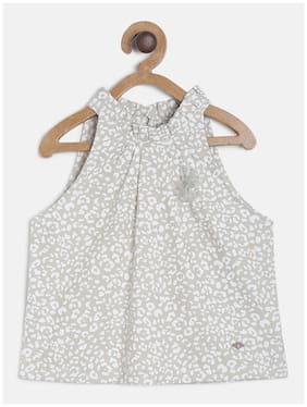 Tales & Stories Cotton Printed Top for Baby Girl - Beige