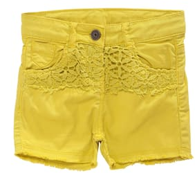 Tales & Stories Girl Cotton Solid Regular shorts - Yellow