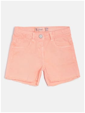 Tales & Stories Girl Cotton Solid Denim shorts - Pink