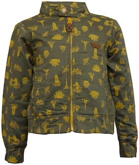 Tales & Stories Boy Cotton Printed Winter jacket - Green