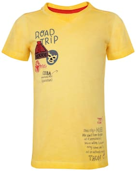 Tales & Stories Boy Cotton Printed T-shirt - Yellow