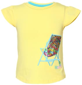 Tales & Stories Cotton Solid T shirt for Baby Boy - Yellow