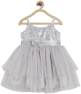 Tales & Stories Baby girl Polyester Solid Princess frock - Grey
