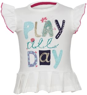 Tales & Stories Girl Cotton Printed T shirt - White