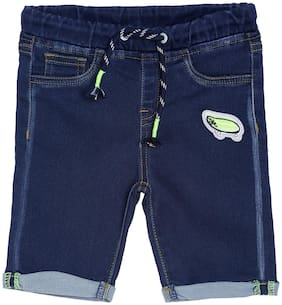 Tales & Stories Boy's Pure Cotton Dark Blue Solid Mid-Rise Shorts