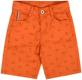Tales & Stories Cotton Shorts Printed Orange Color For Boys