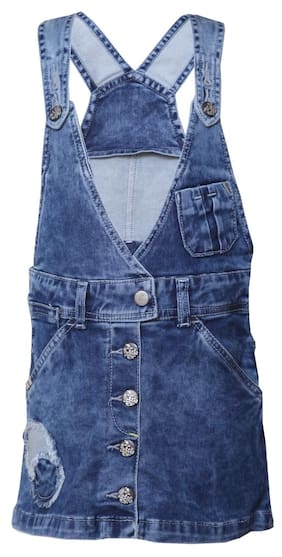 Tales & Stories Girl Denim Solid Dungaree - Blue
