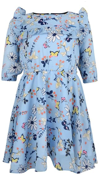 Tales & Stories Blue Cotton 3/4th Sleeves Midi Princess Frock ( Pack of 1 )