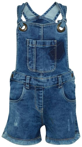 Tales & Stories Baby girl Denim Solid Jumpsuit - Blue