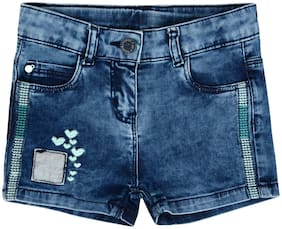 Tales & Stories Girl Cotton blend Solid Hot pants - Blue