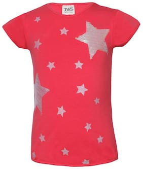 Tales & Stories Peach Fine Cotton Lycra Knit Printed Girl's Slim Fit T-shirt