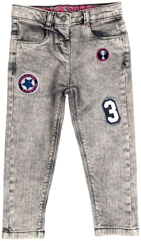 Tales & Stories Girls Grey Embroidered Jeans (Grey)