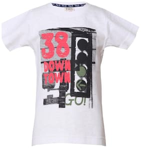 Tales & Stories Boy Cotton Printed T-shirt - White